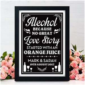 PERSONALISED-Wedding-Signs-Alcohol-No-Great-Love-Story-Vintage-Chalkboard-Sign