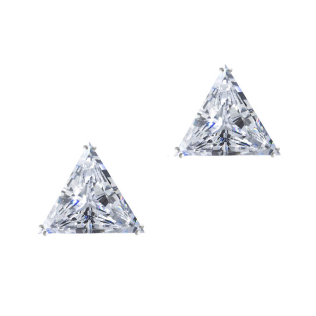 Triangle Stud Earrings 4.0ct Solid 14k White Gold Screw Back Jewelry Gift Women