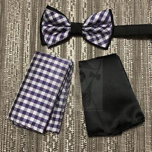 Men/'s Pre-tied Bow Tie /& hankie set plaids /& checkers navy blue lavender
