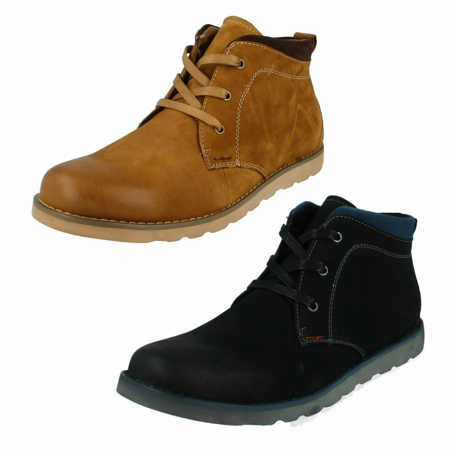 Ausverkauf Thomas Blunt formal-mens schwarz / hellbraunes Leder boots-a3056