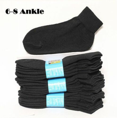 Kids Cotton Socks Lot Crew Ankle Low Cut 2-3 4-6 6-8 Boy/'s Girl/'s White Black