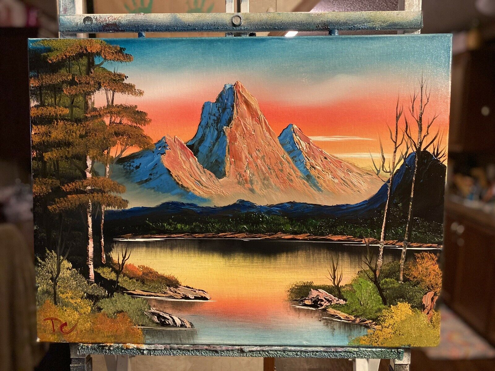 Landscape Oil Painting  18x24 - Bob Ross Inspired Art 2
