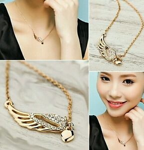 #7037 Fashion  Charm Jewelry Angel Wings Love Heart Pendant Chain Necklace
