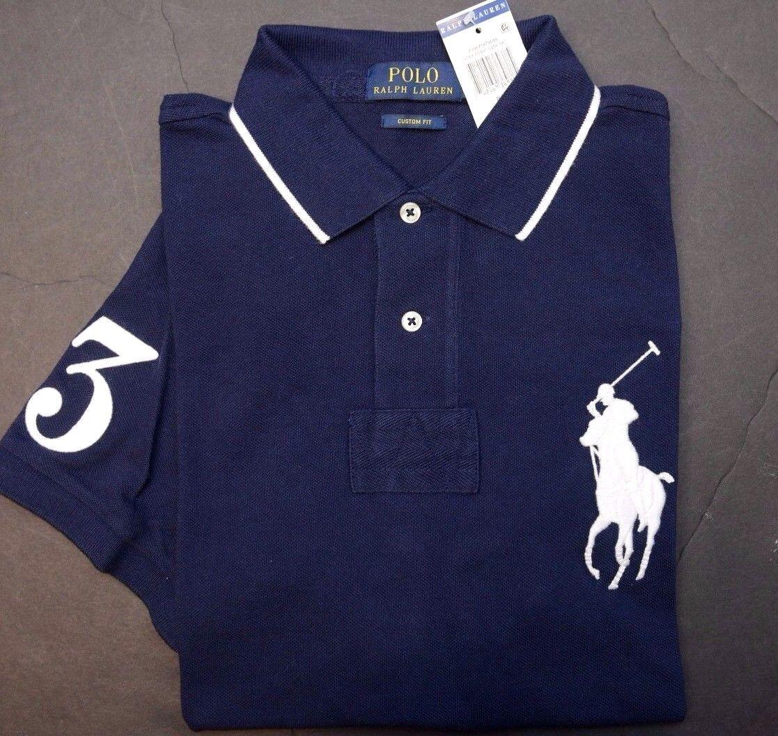 Polo Ralph Lauren Uomo Big Pony su Misura Blu Navy Maglietta Polo di Cotone L