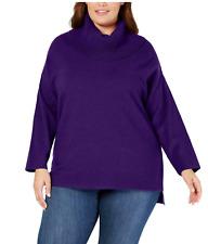 Green//Blk//Purple Plus 0X//1X//3X Style/&Co Women/'s Mixed Stitch Cowl Neck Sweater