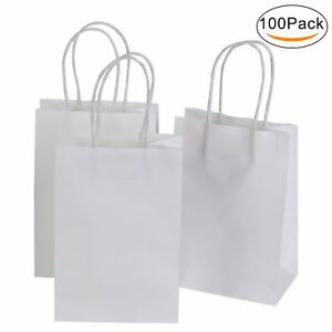 Image Is Loading 100 Pcs Gift Bags Retail Ping Craft White