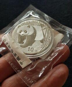 CHINA-2002-10-YUAN-1-OUNCE-999-SILVER-BULLION-PANDA-ORIGINAL-SEALED-PACKAGING