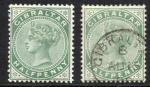 Gibraltar-1-2d-x-2-Stamps-Mounted-Mint-amp-Used-c1886-87-1768