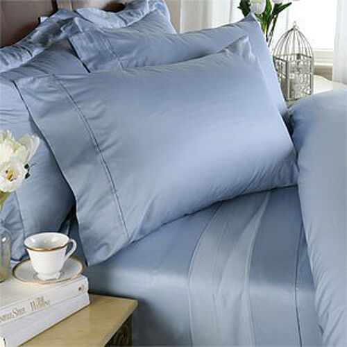 SKY blueE SOLID QUEEN BED SHEET SET 800 THREAD COUNT 100% EGYPTIAN COTTON