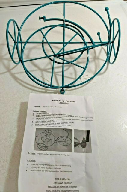 Green Patina Metal Flower Plant Basket Weave Design Pot Stand//Holder Heavy-NEW