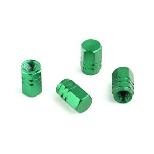 Lot-de-4-bouchons-de-valve-en-aluminium-v2-couleur-vert-Auto-Moto-Velo