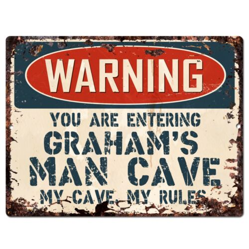PP3761 WARNING ENTERING GRAHAM/'S MAN CAVE Chic Sign Home Decor Funny Gift