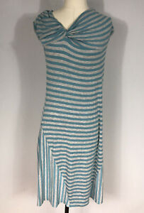 Athleta Style 906195 Blue and Gray Striped Knotted Pahala Dress Women's M Tall