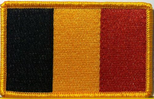 BELGIUM Flag Patch With VELCRO® Brand Fastener Military Gold Emblem #9