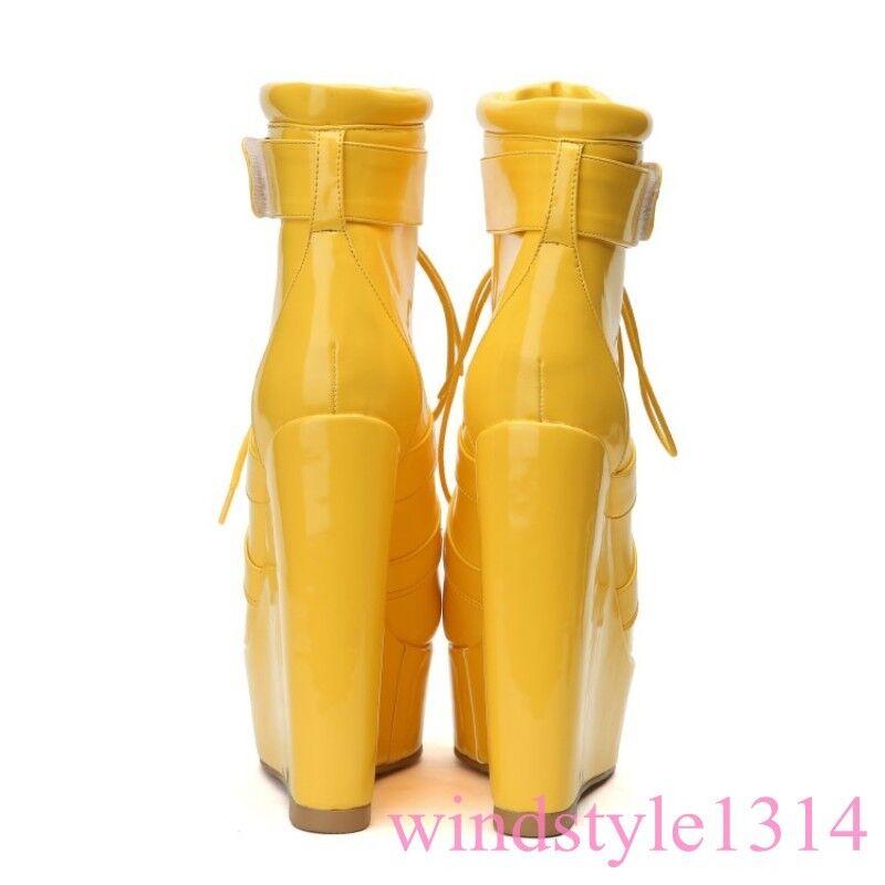 Gladiador Mujeres Charol botas De Plataforma De de Cuña Mitad de Pantorrilla Encaje Ropa de De club a3e9cf