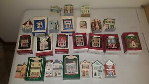 LOT-OF-25-HALLMARK-NOSTALGIC-HOUSES-AND-SHOPS-SERIES-COLLECTIBLE-ORNAMENTS-1984