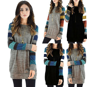 Plus-Size-Women-Long-Sleeve-Tunic-Dress-Ladies-Casual-Jumper-Pullover-Baggy-Tops