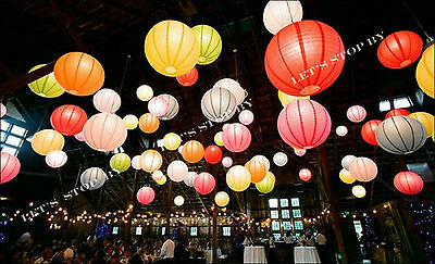 """20X 12"""" Color Chinese paper lanterns+ LED Light Wedding Party Floral decoration"""