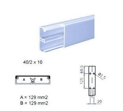 BOCCHIOTTI 00130 TMC 40/2X10 W MINICANALE LUNGO 2 METRI CON COPERCHIO STANDARD