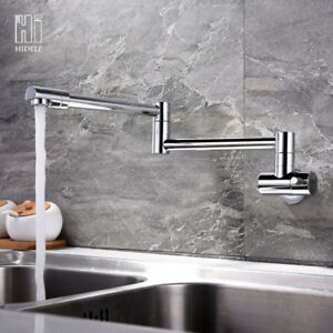 Wall Mount Brass Mixer Water Kitchen Sink Faucet Folding Swivel Spout Tap Ebay