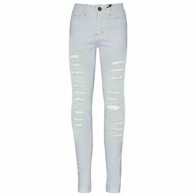 Kids Girls Skinny Jeans White Denim Ripped Fashion ...