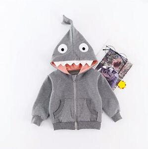 Toddler Kids Boy Girl Cartoon Shark Hoodie Sweatshirt Top Long Sleeve Zipper Jacket Outerwear
