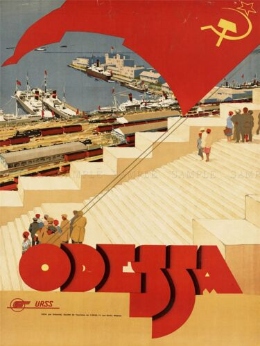 TRAVEL TOURISM ODESSA BLACK SEA CRIMEA RESORT USSR FLAG ART POSTER PRINT LV4228