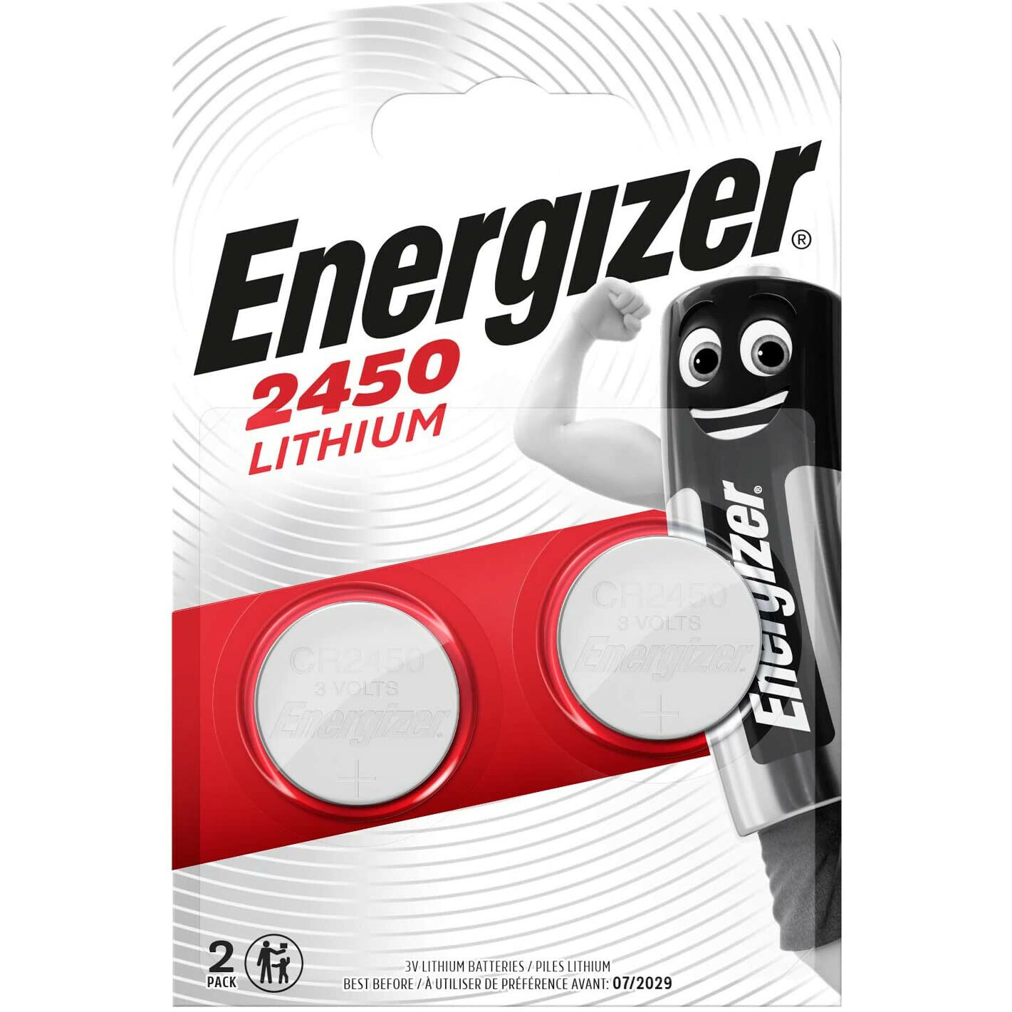 2x Energizer CR2450 3V Lithium Coin Cell Button Battery 2450 DL2450 Long Expiry