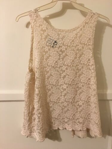 Cream White Lace Sleeveless Tank Top Open Back Size Small