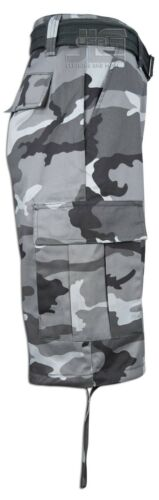 Men Regal Wear Solid Camouflage Belted Cargo Shorts Cotton Twill Size 32 to 44