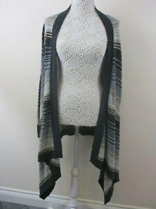 Wallis-waterfall-cardigan-size-M-stretch-grey-beige-stripe-buttonless-sleeves