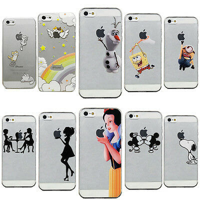 slim New Transparent Cute TPU soft back Case Cover For iPhone 4 4S 5 6 6 plus