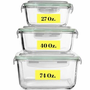 Microwave//Oven... Razab 24 Piece Glass Food Storage Containers w//Airtight Lids