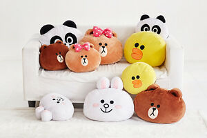 Image is loading LINE-FRIENDS-Characters-Brushed-Microfiber-Face-Pillow-Soft - d3e3f7285f