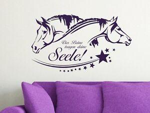 wandtattoo tiere spr che pferd f r wohnzimmer vier beine tragen deine seele ebay. Black Bedroom Furniture Sets. Home Design Ideas
