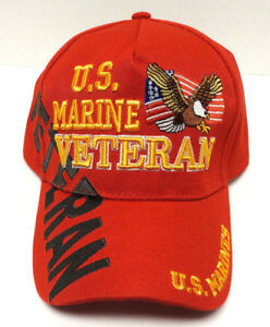 U-S-MARINE-VETERAN-Cap-Hat-W-Eagle-amp-Flag-Red-US-Military-FREE-SHIPPING