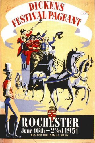 Vintage Southern Railways Rochester Kent Dickens Festival Poster A3//A2 Print