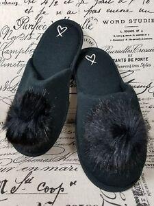 33f6c00ef1260 Details about Victoria's Secret Women's Large 9 10 Black Pom Pom Slippers  Limited Edition New