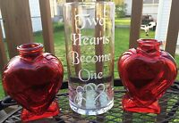 Etched Glass Sand Ceremony Set Two Hearts Become One With Heart Pouring Vases