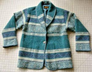 7bb428643 Details about Eddie Bauer Womens Southwest Blanket Jacket Turquoise PM  Vintage Western Wool