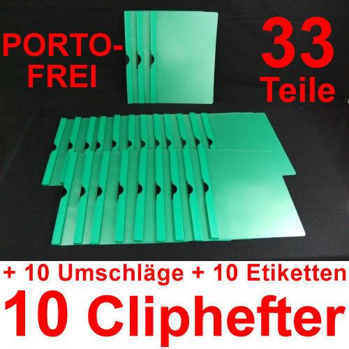 10 Cliphefter Bewerbungsmappen Set Bewerbung Umschläge Dunkelgrün // Grün