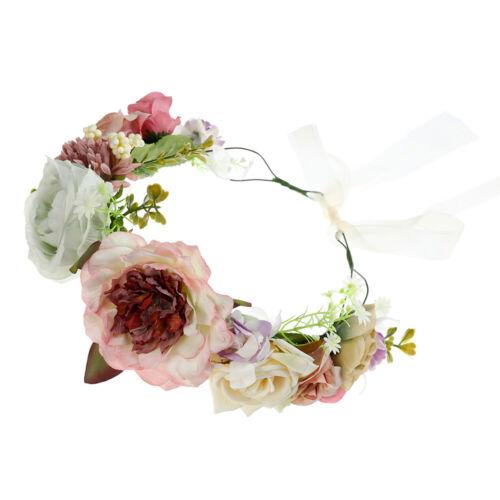 Boho Bridal Flower Headband Crown Wreath Floral Headware Wedding Festival