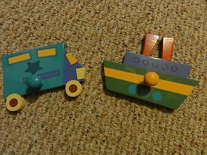 SET OF TWO TRUCK AND BOAT CHILD BABY NURSERY COAT HAT DECORATIVE HOOKS