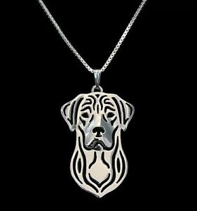 Silver Great Dane Pendant Necklace Collectable Artisan Gift with 18 inch Chain