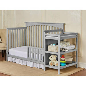 Gray Grey Full Size Convertible 5 In 1 Crib Bed Baby Toddler Nursery Changer Ebay