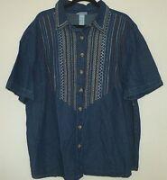 Liz&me 2x 22/24w S/s Denim Embroidery Button Down Shirt Top 100%cotton Blue