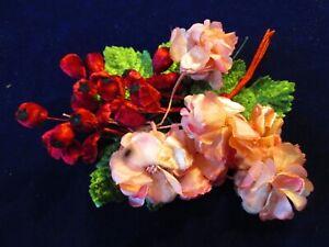 Vintage-Millinery-Flower-Collection-Pink-Red-1-2-034-w-Velvet-German-Japan-H3358