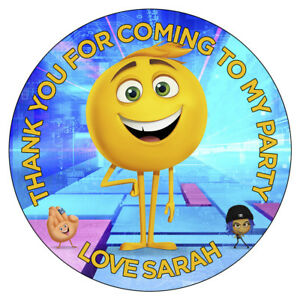 Image Is Loading Personalised Emoji Movie Stickers Gene Meh Birthday Party