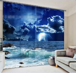 Onda luminosa 3D 0 Cortinas de impresión de cortina de foto Blockout Tela Cortinas Ventana Reino Unido