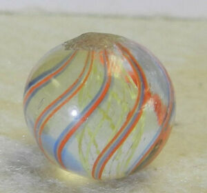 #13083m Vintage German Handmade Yellow Latticino Swirl Marble .56 Inches